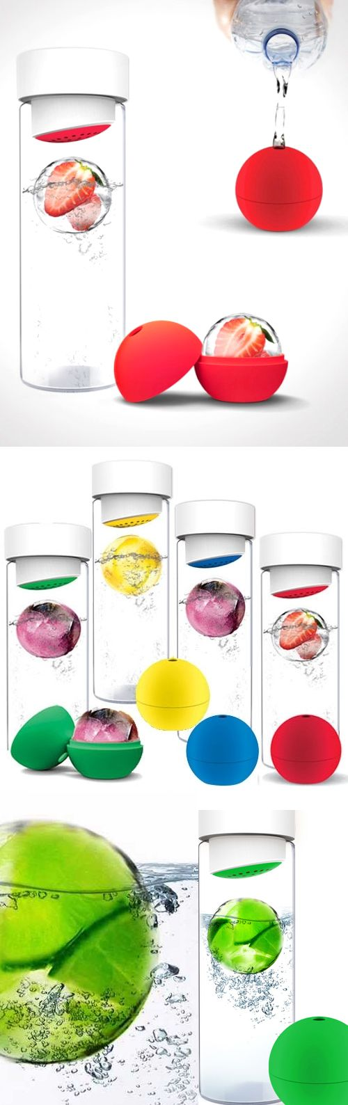 Ice Ball Flavour It // Creates an ice-cold infusion of flavor in your water bottle! So refreshing with your favorite citrus, berries, or mint #product_design