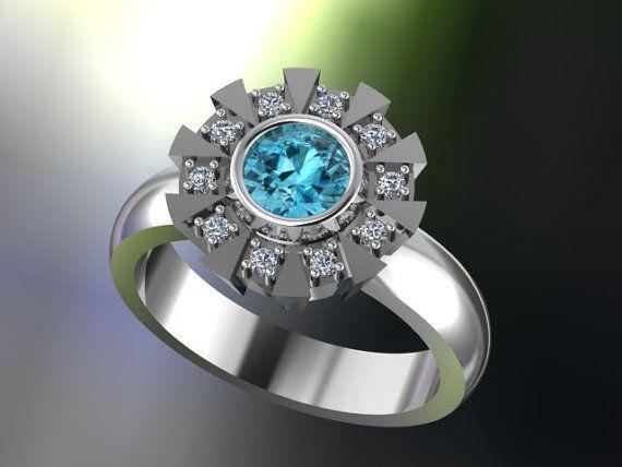 Réacteur arc inspiré de bague de fiançailles en argent, Rhodium noir, véritable topaze bleue & rond Cubic Zirconia, Iron Man, fabriqués sur commande