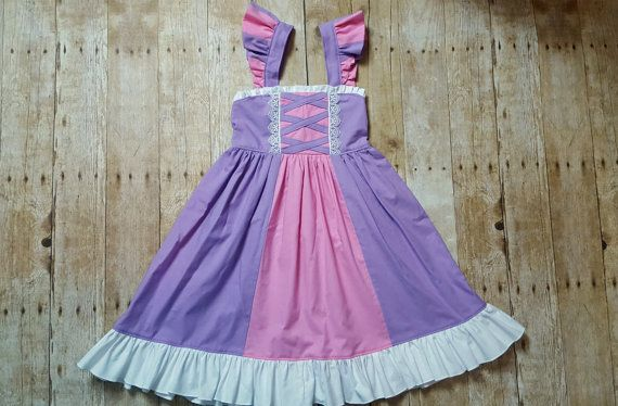 Rapunzel Inspired Girls Toddler Disney Everyday Princess Dress, Sizes 12 months to 10 Girls