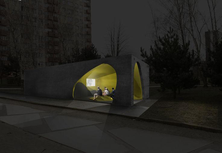Visualization. Public toilet with additional social function in Plock, Poland. Competition entry.