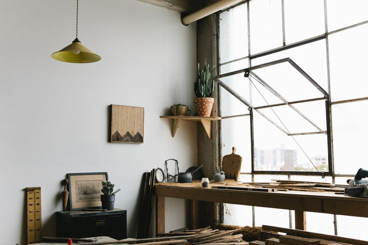 Industrial style studio windows