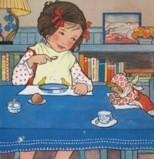 Rie Cramer illustration, vintage girl with doll