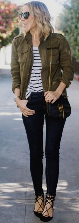 Anine Bing Army Jacket | Old Navy 'Built in Sculpt' Rockstar Jeans  | Old Navy Stripe Tee | Aquazurra Belgravia Flat | Chloe Drew Perforated Leather Bag | Casual Winter Street Style | Damsel In Dior