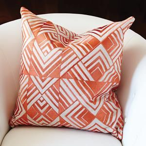 global views coral chevron pillow square throw casual cotton red