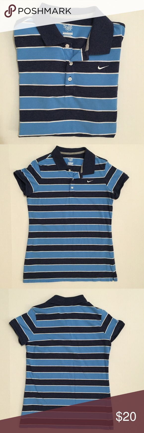 [Nike] women's striped polo collar shirt M-L [Nike] women's striped polo collar shirt M-L •🆕listing •good pre-owned condition •multi-color blue (heathered navy) and white striped, white embroidered swoosh •collared, 3 buttons •material 93% cotton 7% spandex, very soft •may fit M-L, tag size L, stretchy- but slim fit •offers welcomed using the offer feature or bundle/bundle offer welcomed••• Nike Tops Tees - Short Sleeve