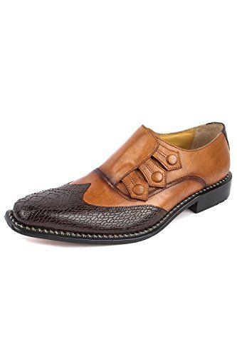 Liberty Fortune Handmade Mens Classic Wing-Tip 3 button Monkstrap Dress shoe (9, Tan)