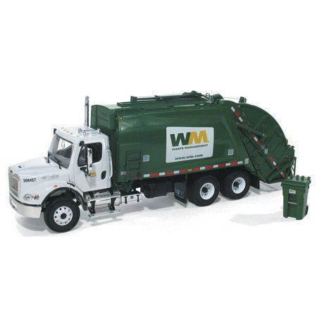 1/34 DC Waste Mgment Rear Load by First Gear. $105.69. Die Cast Metal with Plastic Accessories. Serious Details. Hard To Find Freightliner Truck. Complete with 2 Garbage Cans. Waste Management Logo. This 1/34 scale Rear End Loader with never seen before Freightliner M-2 Cab. Made by First Gear for Waste Management, it is an exciting brand new design. Comes complete with two Waste management garbage cans. Add these great trucks to your collection today! Measures 12...