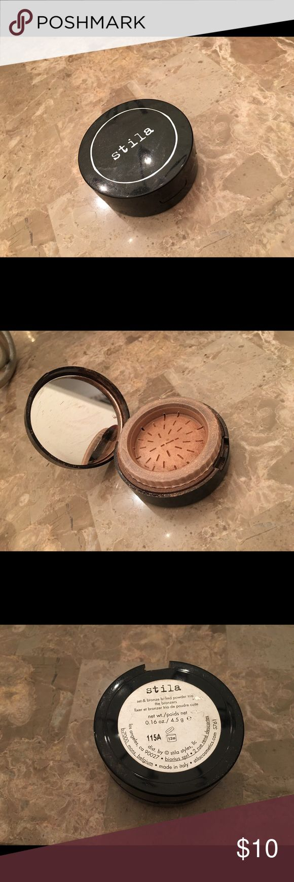 Stila Set and Bronze Baked Powder Trio Almost new, used a few times. Sanitized before shipment, set and bronze baked trio. Comes in a cool container that shaves down product for great application! Purchase a bundle of five or more and get a free 10$ Urban Outfitters cosmetics case!! 💕 Stila Makeup Bronzer
