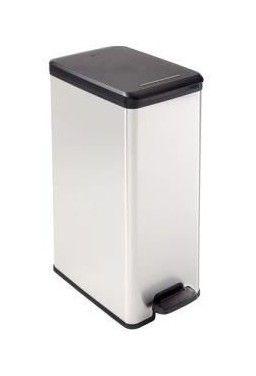 CURVER Poubelle a pédale 40L Slim aspect métal - CUR3253922340007 - Salle de bain, WC