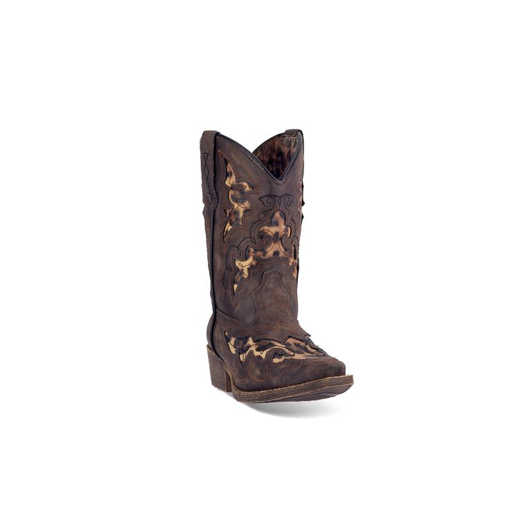 Laredo Sabre Kids' Harness Western Boots, Girl's, Size: 10.5T, Brown