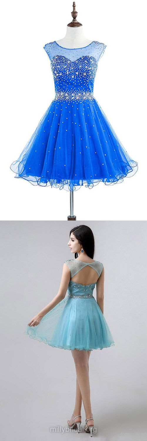Royal Blue Homecoming Dresses,Scoop Neck Tulle Girls Cocktail Dress,Beading Short Party Gowns, Cheap Prom Dresses