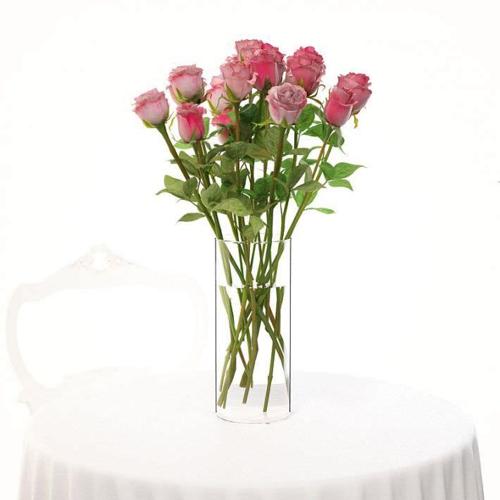 Vase With Pink Roses 3d Model Pink Roses Vase Pink