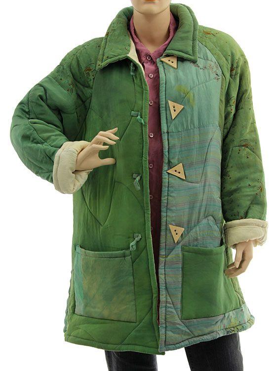 Handmade boho artsy silk coat jacket, patchwork green M L - Artikeldetailansicht - CLASSYDRESS Lagenlook Art to Wear Women's Clothing