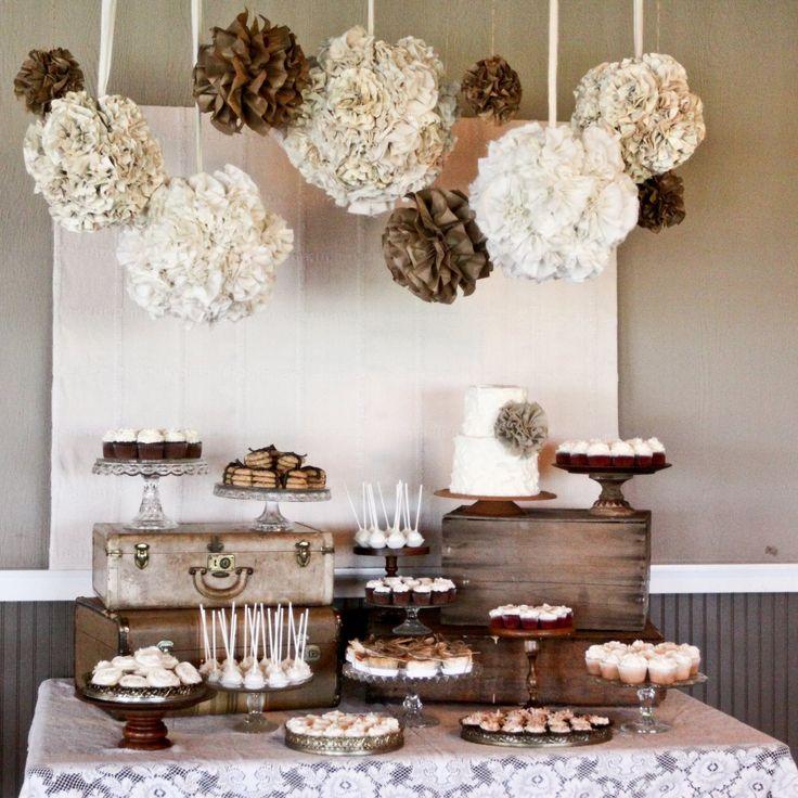 rustic wedding dessert table: Idea, Wedding Desserts Tables, Old Suitca, Color, Pompom, Burlap Lace, Lace Wedding, Desserts Bar, Pom Pom