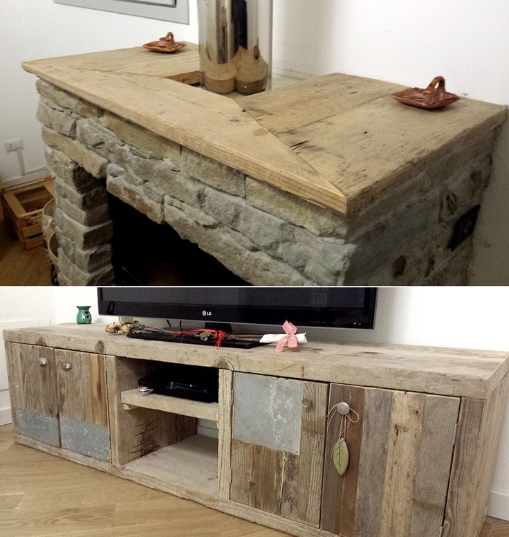 IT / mobile per tv con legno di recupero, sportelli in legno e zinco. Pomelli e maniglie di recupero. Asse camino in legno di recupero EN / tv cabinet made with recycled wood, wooden and zinc doors and antique knobs and handles. Fireplace board made...