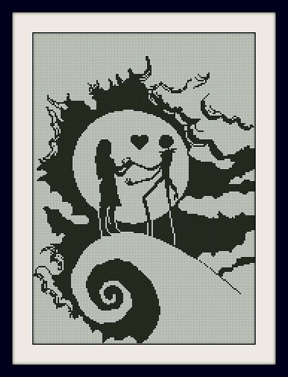 Sally and Jack Skellington Nightmare Before Christmas,INC Cross Stitch Pattern, BOGO, PDF counted cross stitch pattern,R148