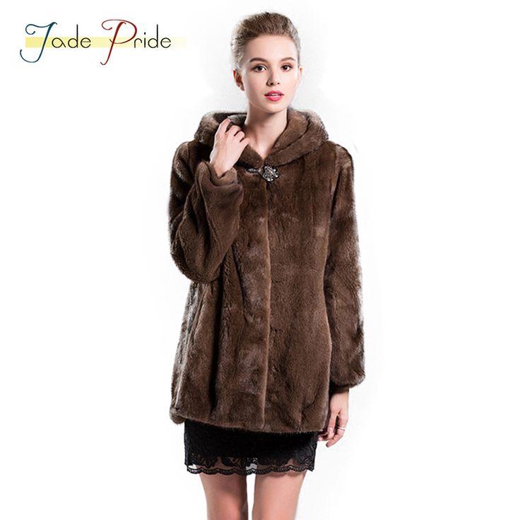 Jade Pride Winter 2017 New Fashion High Quality Mink Fur Coat Warm Slim Real Natural Mink Furs Jacket Women Fur <font><b>Hoodies</b></font> Overcoat