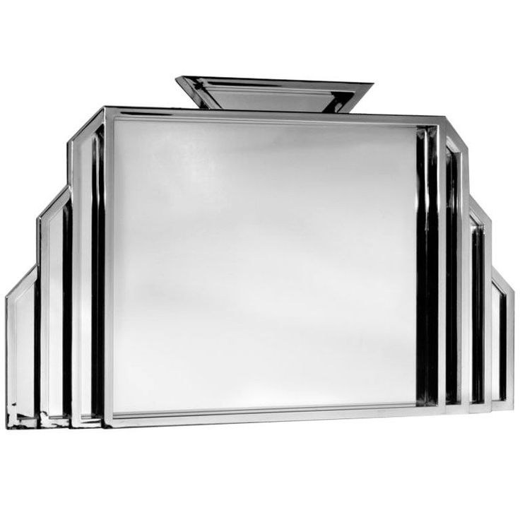 Extra Large Art Deco Mirror,  over four feet wide and almost three feet high in a polished metal with structured panels outlining the center mirror.