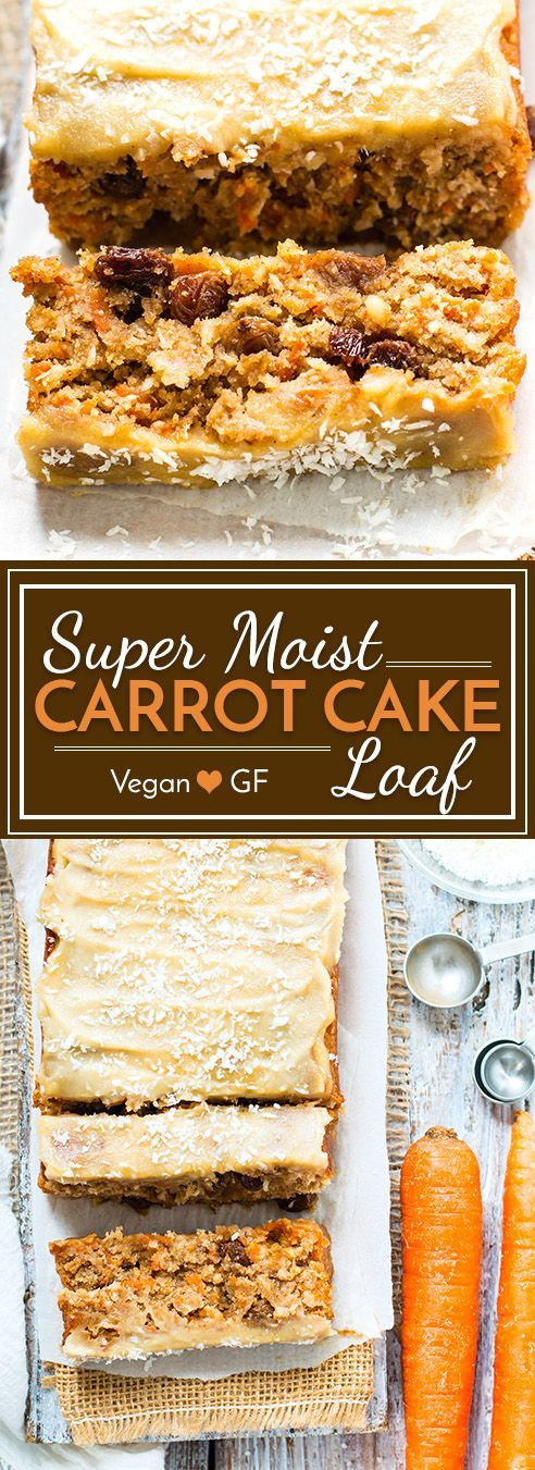 "Super Moist Vegan Carrot Cake Loaf is topped with a vegan ""cream cheese"" frosting for the perfect Easter or Spring breakfast, snack or dessert. This vegan carrot cake bread is also gluten free, grain free, egg free, dairy free and refined sugar-free!"