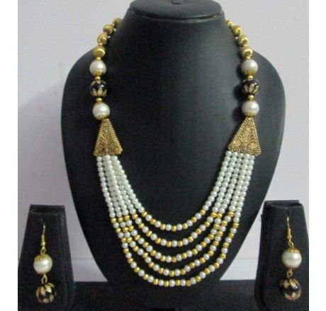 5 Layered Pearl & Gold Black Beaded Necklace Earrings Sets - Fashion Jewelry