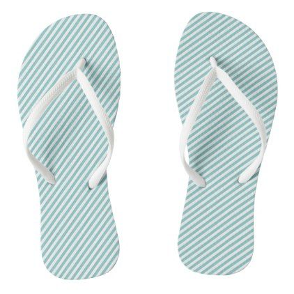 #Mini Tiffany Aqua Blue and White Candy Cane Stripe Flip Flops - #womens #shoes #womensshoes #custom #cool