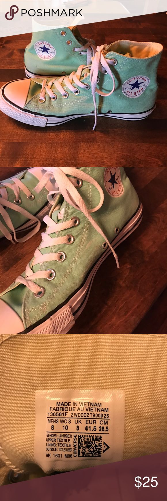 Mint Converse Hightops These have been worn maybe 3 times. Great condition, very clean. Slight fading on the sides (see pictures), not noticeable!! Converse Shoes Sneakers