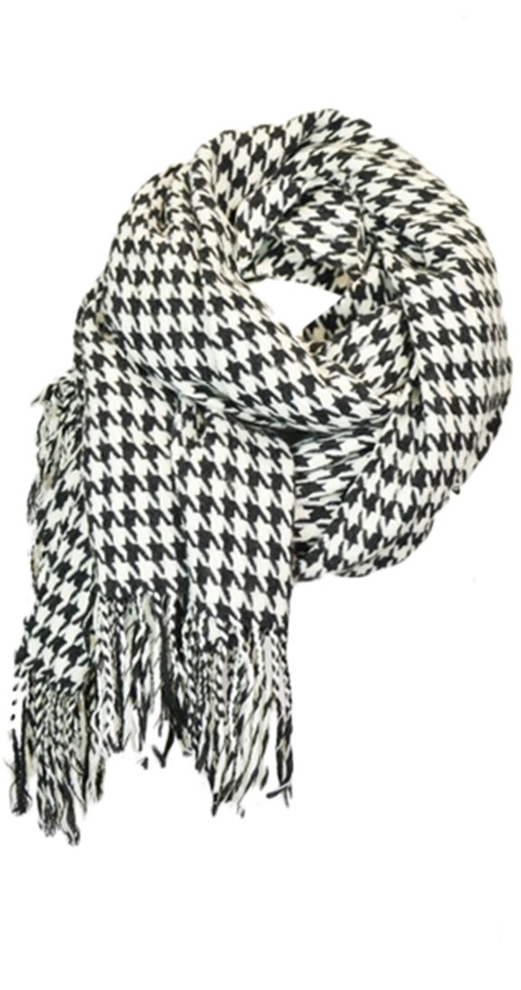 "An oversized shawl that can be worn as a scarf. Houndstooth is a pattern needed in every womens closet this season.  Can be worn as a scarf Oversized shawl with tassels One size 34"" wide 76"" long 100% Acrylic"