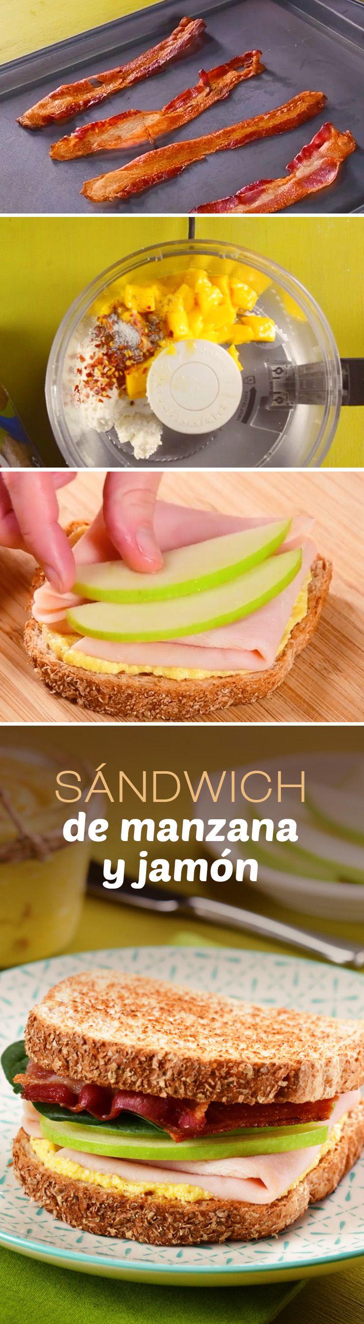 Sándwich saludable con Pan Bimbo®, jamón y manzana verde. Te sorprenderá la combinación de sabores a la hora del lunch.