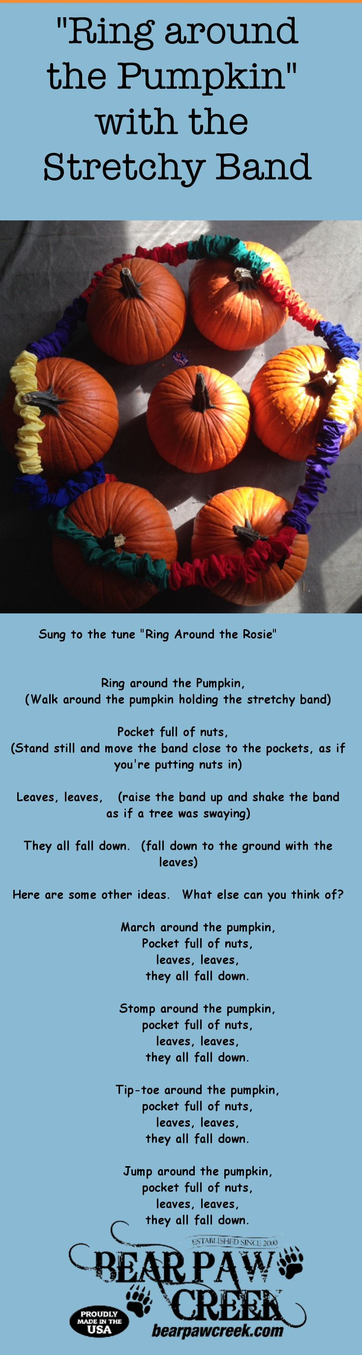 """Ring Around the Pumpkin"" song and movement activity with Bear Paw Creek's stretchy band or connect-a-band."