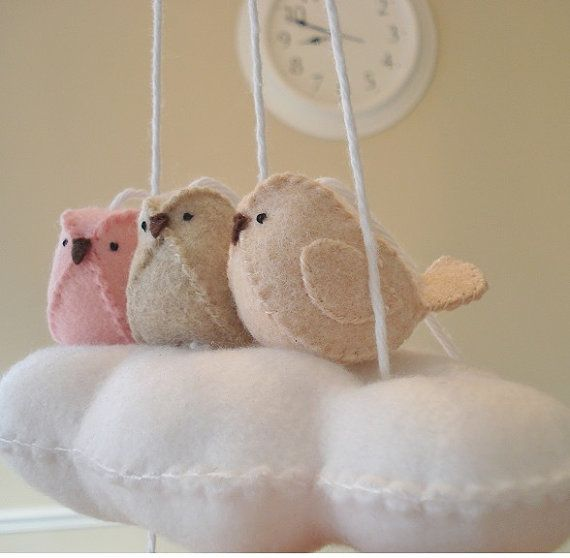 Cloud and baby bird nursery mobile  pink and peach by BlossomHill, $32.00