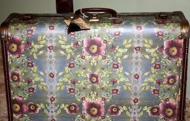 Vintage suitcase covered with PAPAYA! paper  Love PaPaYA