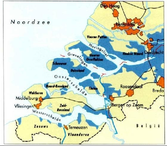 31st of Januari to the 1st of Februari 1953 there was a extreme hightide, while the Western winds with force 10 pushed the water against the then weakened dikes of Zeeland