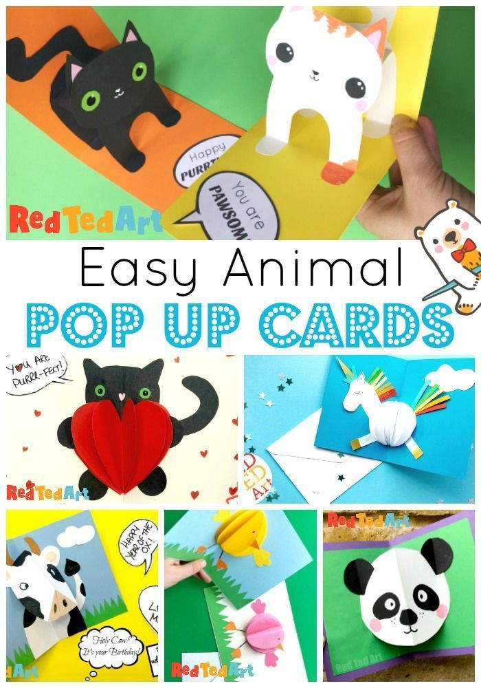 How To Make Pop Up Cards With Animals Red Ted Art Pop Up Cards Fun Halloween Cards Halloween Pop Up Cards