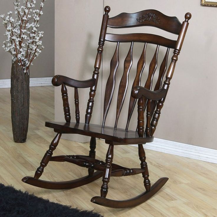 Coaster Rocking Chair Carved Aspect Medium Brown Finish Features Carved  Details Top And Accent Design And Trend In Brown Finish. Item Is Specially  Designed ...