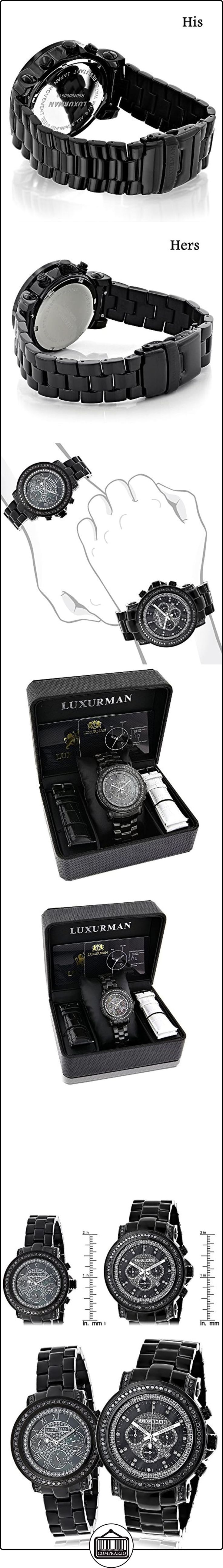 Large Matching His and Hers Watches: Black Diamond Watch Set by Luxurman 5.15ct  ✿ Relojes para mujer - (Lujo) ✿