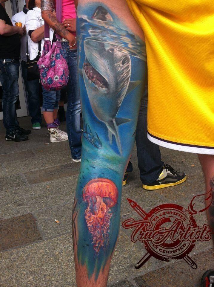 Full leg Underwater Scene tattoo | Tattoo Ideas ...