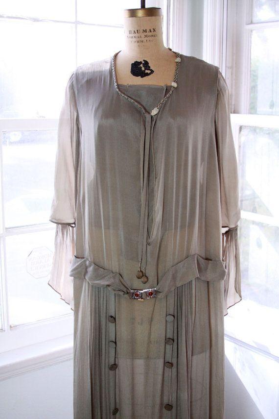 1920's dove grey silk dress