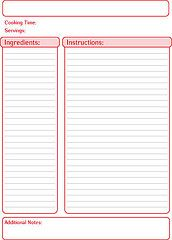 Red printable free recipe template