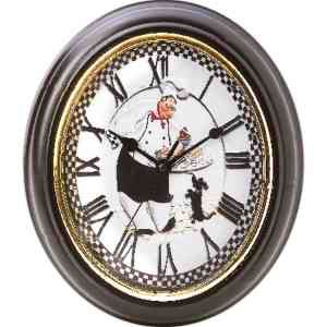 "Brookwood (TM) oval shape baker wall clock. Features roman numerals and baker design. Polypropylene construction. Requires 1 AA battery (not included). Measures 9"" x 10 1/2"" x 1 1/2""."
