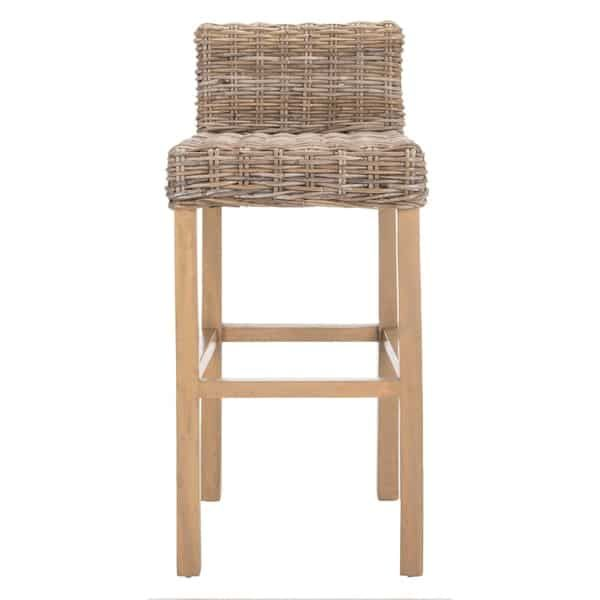 Safavieh 30 Inch St Grey Beige Wicker Bar Stool 17 7 X 17 7 X 37 4 Wicker Bar Stools Grey Bar Stools Wicker Counter Stools