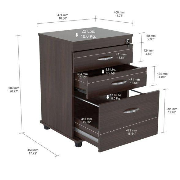 3 Drawer Locking File Cabinet Espresso Inval In 2020 Filing Cabinet 3 Drawer File Cabinet Drawers