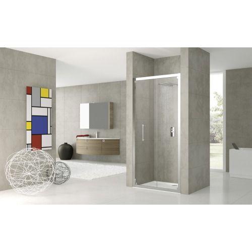 Novellini Rose S vouwdeur voor nis of zijwand 87x200cm (afstelbaar van 84 tot 90cm) wit profiel en helder glas - ROSES841D - Sanitairwinkel.be
