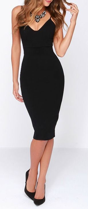 Feeling fierce will come easily in this stretch knit number, with skinny spaghetti straps and a darted triangle bodice above a banded waist. The midi length skirt creates a sleek bodycon look, complementing your curves for an elegant finish. #lovelulus