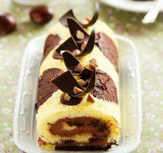 Vaníliás-csokis piskótatekercs gesztenyés krémmel - Így lesz tarka a piskóta