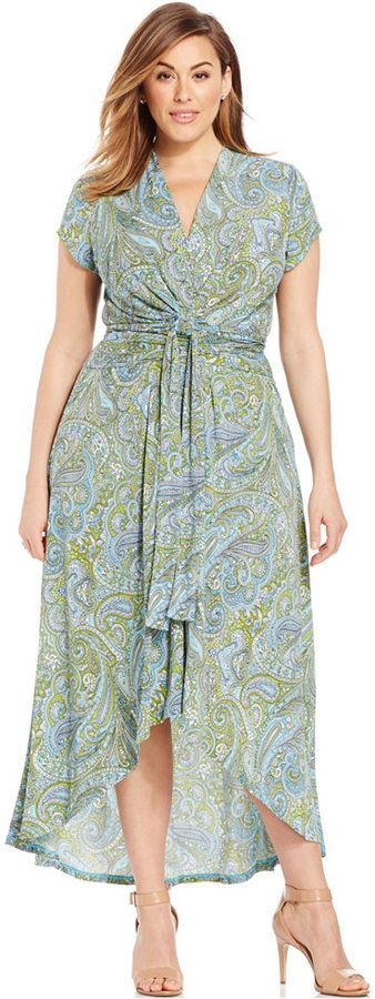 Beautiful! Plus Size Faux-Wrap Maxi Dress