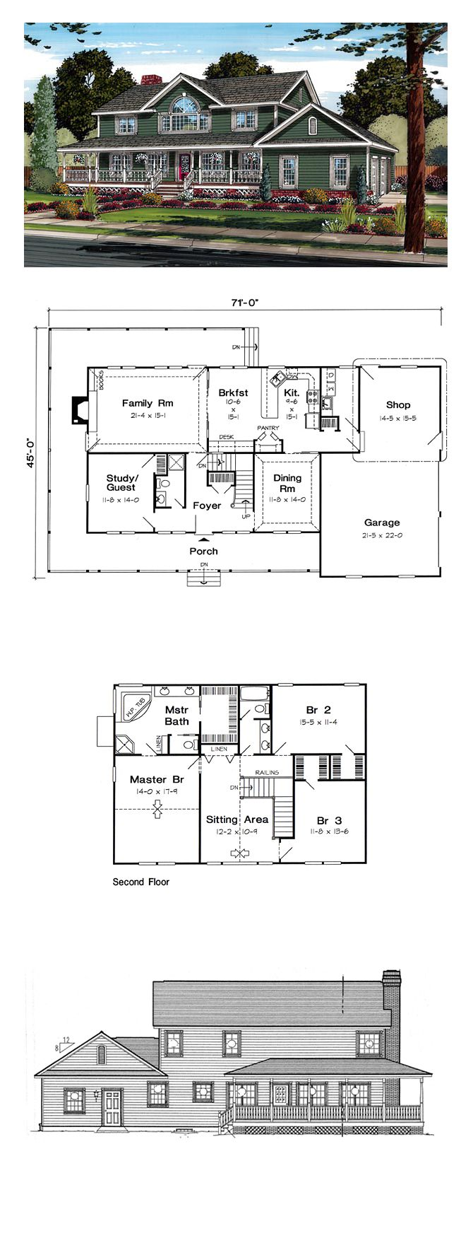 Country Farmhouse Southern Traditional House Plan 24403