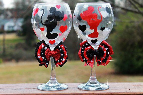Disney Minnie Mouse Mickey Mouse Glitter Bridesmaid Wedding Bridal Shower Valentine Christmas Seasonal Holiday Wine Glass SET OF 2 on Etsy, $59.99