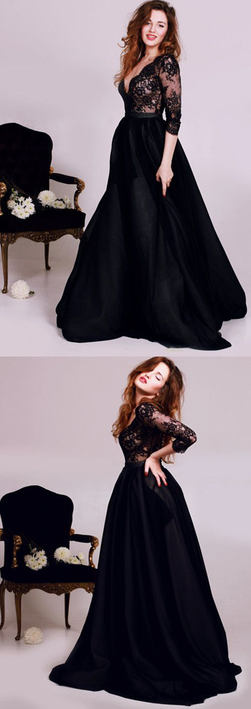 Diyouth Black Lace Deep V-Neck Prom Dresses 2016 3/4 Sleeves Tulle Elegant Evening Gowns