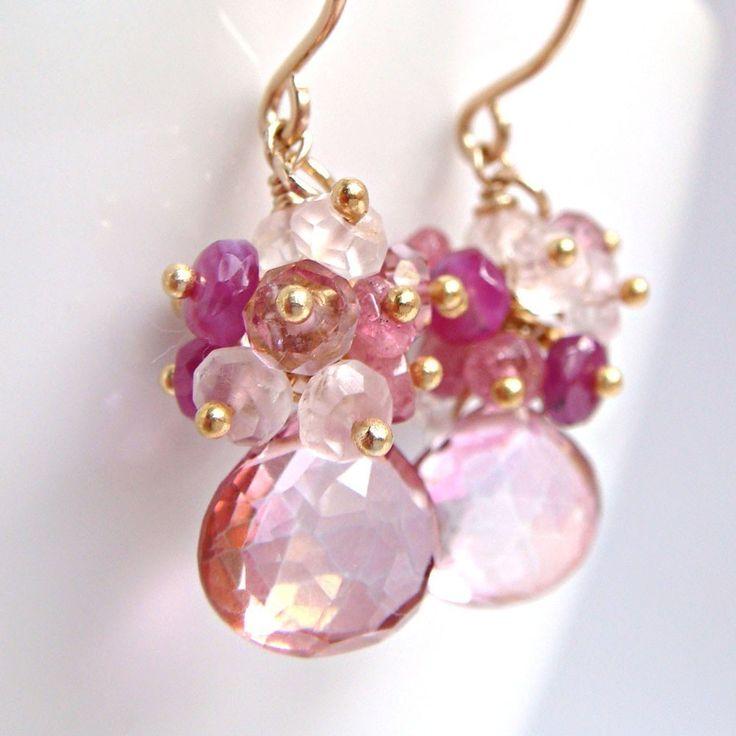 Pink Gemstone Earrings Quartz Sapphire Tourmaline 14k by aubepine, $59.75