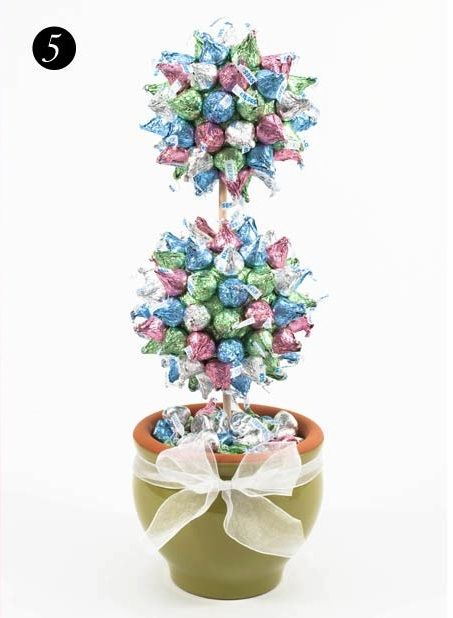 Hershey's Kiss Topiary, love the double balls! Would be pretty in Christmas colors, too. By Dylan Lauren, Dylan's Candy Bar.